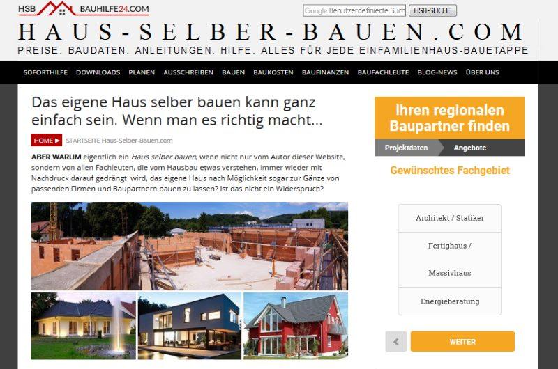 Bauherren-Website Haus-Selber-Bauen.com