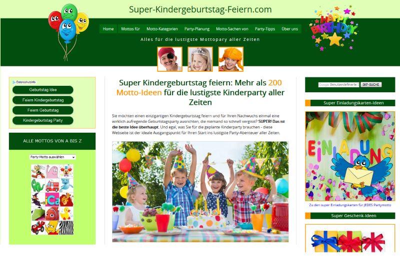 Partymotto-Website Super-Kindergeburtstag-Feiern.com